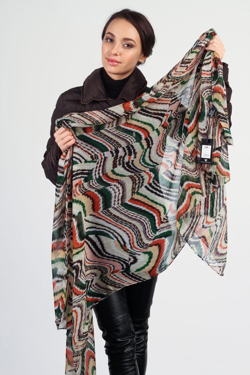ПалантинKL-0003-1Стильный женский палантин Fiona Fantozzi станет великолепным завершением любого наряда. Палантин изготовлен из модала с добавлением шелка и оформлен цветным оригинальным принтом. Изящный палантин поможет вам создать изысканный женственный образ, а также согреет в непогоду.
