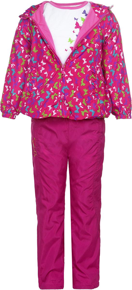 Комплект верхней одежды104397D-6Комплект для девочки M&D, состоящий из футболки с длинным рукавом, ветровки и брюк, идеально подойдет для вашего ребенка в прохладное время года. Ветровка изготовлена из 100% полиэстера с подкладкой из натурального хлопка. Модель с несъемным капюшоном застегивается на пластиковую застежку-молнию с защитой подбородка. На капюшоне предусмотрена утяжка в виде резинки со стопперами. Низ рукавов присборен на резинки. Линия талии на спинке также дополнена резинкой. Спереди имеются два прорезных кармана. Оформлена ветровка красочным принтом. Брюки выполнены из 100% полиэстера с подкладкой из натурального хлопка. Модель на талии имеет широкую резинку, благодаря чему брюки не сдавливают живот ребенка и не сползают. По бокам модель дополнена двумя втачными кармашками со скошенными краями. Оформлено изделие аппликацией и вышивкой в виде бабочек. Футболка с длинным рукавом изготовлена из натурального хлопка. Модель с круглым вырезом горловины оформлена на...