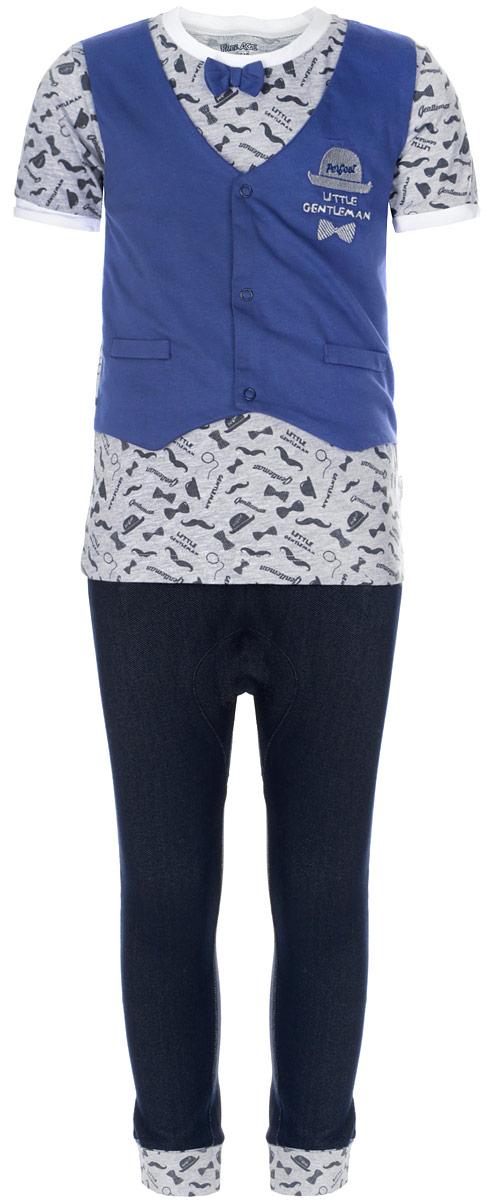 Комплект для мальчика Free Age: футболка, брюки, цвет: серый, синий, темно-синий. ZBB 21022-BG-1. Размер 92, 2 годаZBB 21022-BG-1Очаровательный комплект для мальчика Free Age, состоящий из футболки и брюк, идеально подойдет вашему малышу. Изготовленный из хлопка с добавлением полиэстера и эластана, он необычайно мягкий и приятный на ощупь, не сковывает движения ребенка и позволяет коже дышать, не раздражает даже самую нежную и чувствительную кожу малыша, обеспечивая наибольший комфорт. Футболка с круглым вырезом горловины и короткими рукавами украшена несъемной имитацией жилетки на кнопках. Модель оформлена оригинальным принтом и украшена небольшим декоративным бантиком, а также вышивкой в виде шляпы и галстука-бабочки с надписью Perfect Little Gentleman. Вырез горловины дополнен контрастной трикотажной резинкой, края рукавов - декоративными отворотами контрастного цвета.Брюки имеют широкий эластичный пояс, не сдавливающий животик ребенка. Объем талии регулируется при помощи скрытого шнурка. Низ брючин дополнен широкими эластичными манжетами с декоративными отворотами. Изделие дополнено двумя втачными карманами спереди и украшено имитацией ширинки. В таком комплекте ваш малыш будет чувствовать себя уютно и комфортно, и всегда будет в центре внимания.