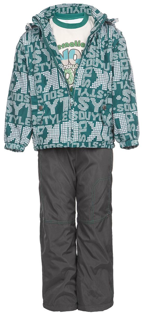 Комплект для мальчика M&D: футболка с длинным рукавом, куртка, брюки, цвет: темно-бирюзовый, белый, темно-серый. 104253RD-28. Размер 98104253RD-28Комплект для мальчика M&D, состоящий из футболки с длинным рукавом, куртки и брюк, идеально подойдет для вашего ребенка в прохладное время года.Куртка изготовлена из 100% полиэстера с подкладкой из мягкого флиса. Модель с воротником-стойкой, съемным капюшоном на молнии и длинными рукавами застегивается на пластиковую застежку-молнию с защитой подбородка. Низ рукавов присборен на резинки. Предусмотрена утяжка в виде резинок со стопперами: на капюшоне и внутри изделия понизу. Спереди имеются два прорезных кармана, украшенные клапанами с декоративными кнопками. Оформлена куртка оригинальным принтом. Брюки выполнены из 100% полиэстера с подкладкой из натурального хлопка. Модель на талии имеет широкую резинку, благодаря чему брюки не сдавливают живот ребенка и не сползают. По бокам модель дополнена двумя втачными кармашками со скошенными краями. Понизу брючин предусмотрена утяжка в виде резинок со стопперами. Оформлено изделие контрастной прострочкой и металлическими клепками.Светоотражающие элементы на куртке и брюках не оставят вашего ребенка незамеченным в темное время суток. Футболка с длинным рукавом изготовлена из натурального хлопка. Модель с круглым вырезом горловины оформлена на груди оригинальным принтом. Горловина дополнена мягкой трикотажной резинкой. Комфортный, удобный и практичный комплект идеально подойдет для прогулок и игр на свежем воздухе!