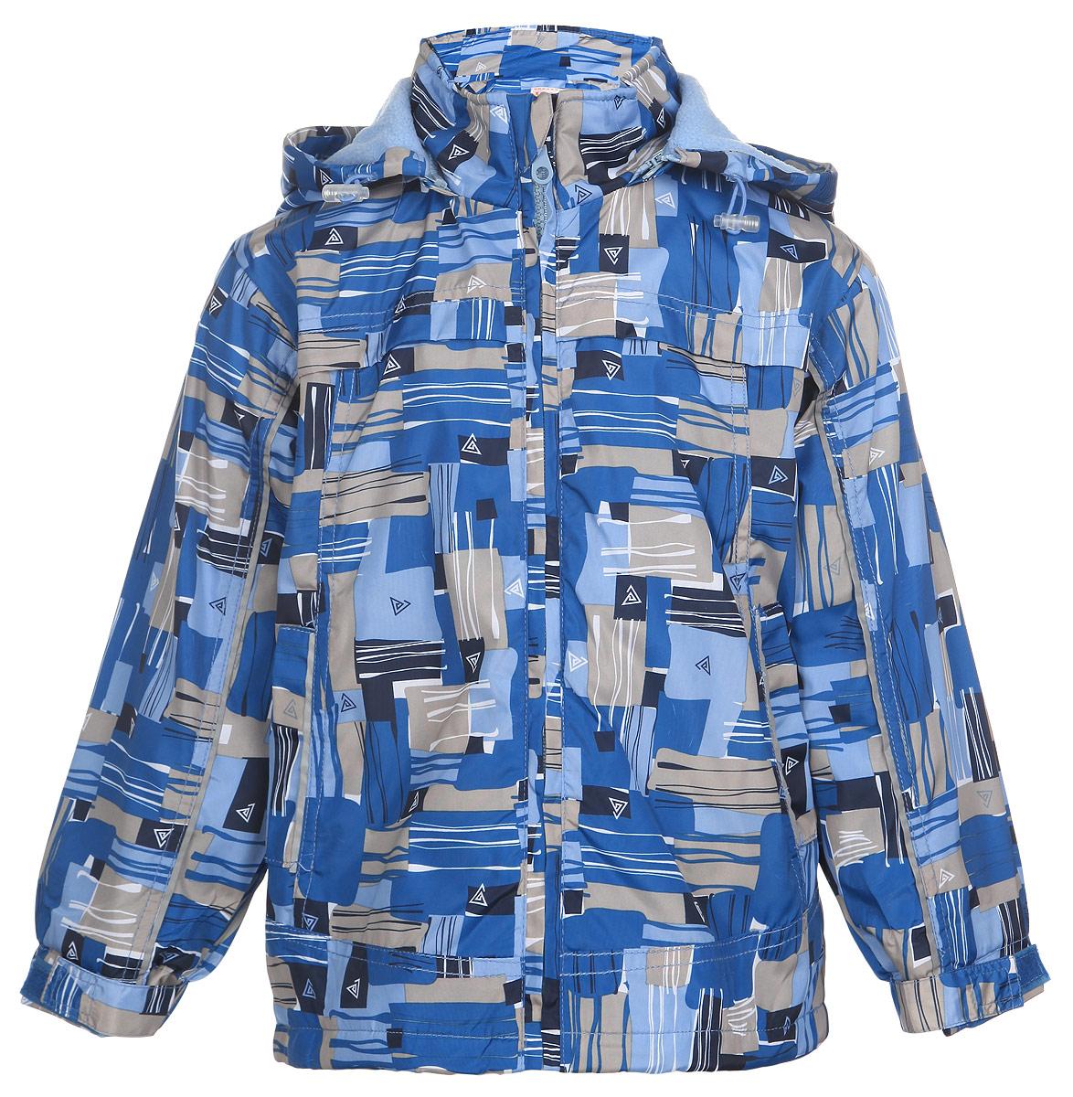 Куртка для мальчика M&D, цвет: голубой, синий, бежевый. 111603R-10. Размер 116111603R-10Легкая куртка для мальчика M&D, изготовленная из полиэстера, идеально подойдет для ребенка в прохладную погоду. Для большего комфорта на подкладке используется мягкий флис, который хорошо сохраняет тепло.Куртка с капюшоном застегивается на пластиковую молнию с защитой подбородка. Капюшон по краю дополнен затягивающимся шнурком со стопперами. Низ рукавов присборен на резинки. Ширину манжет можно регулировать при помощи хлястиков на липучках. Низ куртки оснащен резинкой со стопперами, защищающей от проникновения холодного воздуха. Спереди расположены два втачных кармана. Оформлено изделие оригинальным принтом.Куртка дополнена светоотражающими элементами для безопасности ребенка в темное время суток.Комфортная, удобная и практичная куртка идеально подойдет для прогулок и игр на свежем воздухе!