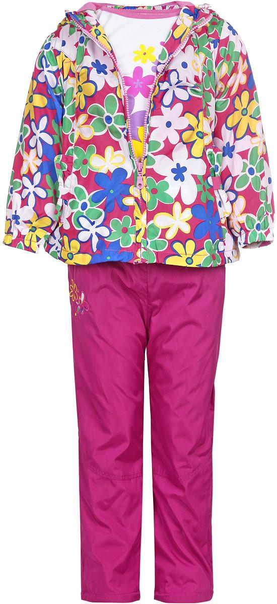 Комплект верхней одежды103539D-6Комплект для девочки M&D, состоящий из футболки с длинным рукавом, ветровки и брюк, идеально подойдет для вашего ребенка в прохладное время года. Ветровка изготовлена из 100% полиэстера с подкладкой из натурального хлопка. Модель с несъемным капюшоном застегивается на пластиковую застежку- молнию с защитой подбородка. На капюшоне предусмотрена утяжка в виде резинки со стопперами. Низ рукавов присборен на резинки. Линия талии на спинке также дополнена резинкой. Спереди имеются два прорезных кармана. Оформлена ветровка цветочным принтом. Брюки выполнены из 100% полиэстера с подкладкой из натурального хлопка. Модель на талии имеет широкую резинку, благодаря чему брюки не сдавливают живот ребенка и не сползают. По бокам модель дополнена двумя втачными кармашками со скошенными краями. Оформлено изделие аппликацией и вышивкой в виде цветов. Футболка с длинным рукавом изготовлена из натурального хлопка. Модель с круглым вырезом горловины...