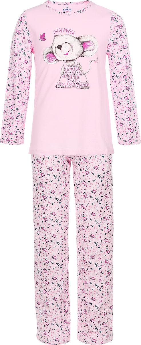 ПижамаN9014-17/NA9014-17Мягкая пижама для девочки Baykar, состоящая из футболки с длинным рукавом и брюк, идеально подойдет ребенку для отдыха и сна. Модель выполнена из эластичного хлопка, очень приятная к телу, не сковывает движения, хорошо пропускает воздух. Футболка с круглым вырезом горловины и длинными рукавами оформлена изображением забавной мышки и цветочным принтом. Брюки на талии имеют мягкую резинку, благодаря чему они не сдавливают животик ребенка и не сползают. Изделие оформлено цветочным принтом. В такой пижаме ребенок будет чувствовать себя комфортно и уютно!