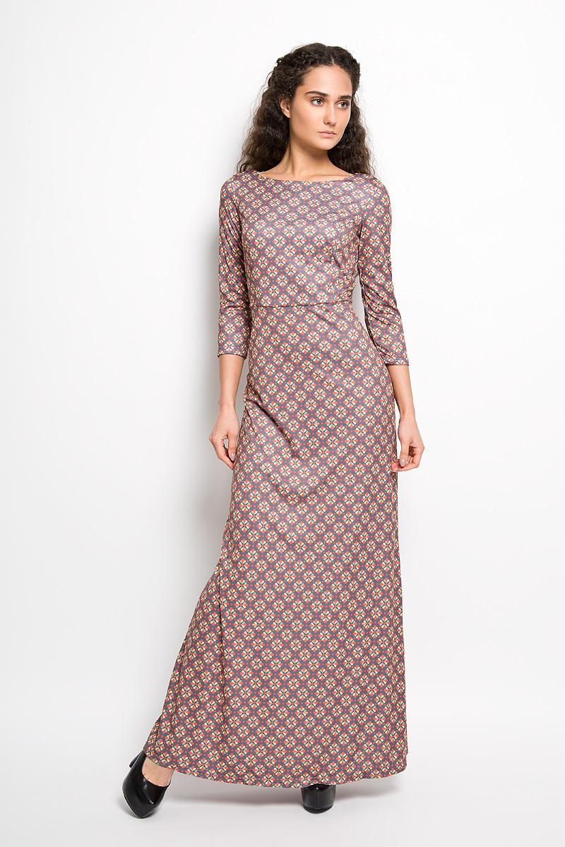 Платье Анна Чапман, цвет: графитовый, желтый, темно-оранжевый. P20E-28. Размер 46P20E-28Великолепное платье Анна Чапман, выполненное из нежнейшей ткани, идеально сидит благодаря правильным выточкам. Платье-макси приталенного кроя с круглым вырезом горловины и рукавами 3/4 подойдет как для вечернего выхода, так и на каждый день. Платье украшено изящным принтом Двина. Спинка оформлена V-образным вырезом. Такое платье станет стильным дополнением к вашему гардеробу, оно подарит вам комфорт в течение всего дня!