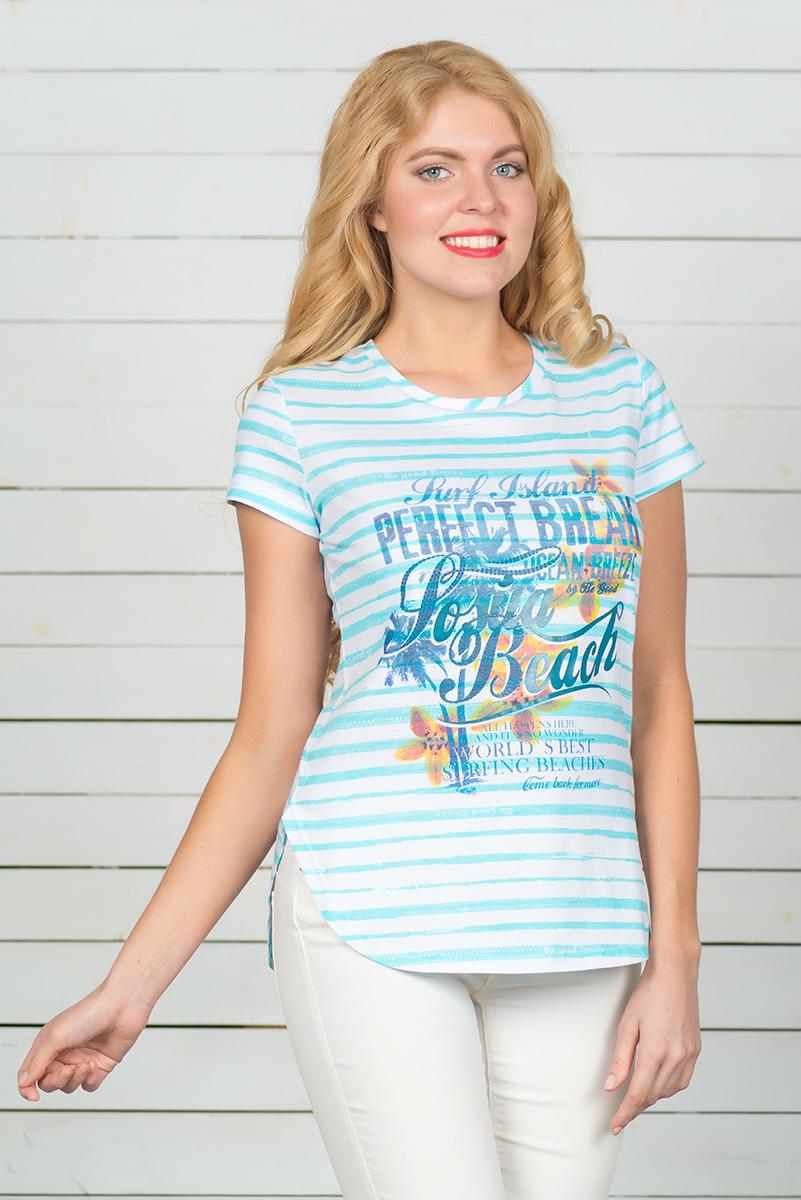 Футболка женская BeGood, цвет: белый, голубой. SS16-BGUZ-593. Размер 52SS16-BGUZ-593Стильная женская футболка BeGood, выполненная из эластичного хлопка, обладает высокой теплопроводностью, воздухопроницаемостью и гигроскопичностью, позволяет коже дышать. Модель с короткими рукавами и круглым вырезом горловины - идеальный вариант для создания стильного современного образа. Футболка оформлена ярким принтом с цветами и надписями. По низу модель имеет закругленную форму.