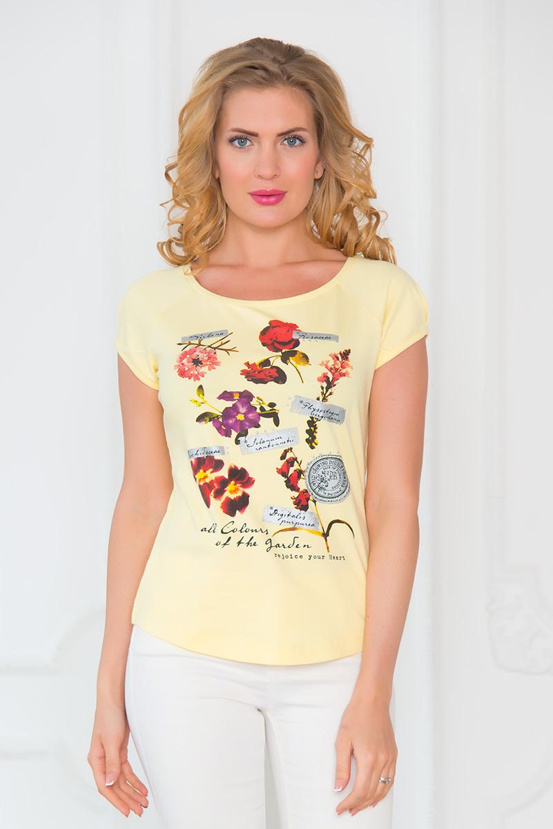 ФутболкаSS16-BGUZ-537Женская футболка BeGood выполнена из хлопка с добавлением эластана. Модель с круглым вырезом горловины и короткими рукавами-реглан. Футболка оформлена цветочным принтом и надписями на английском языке.