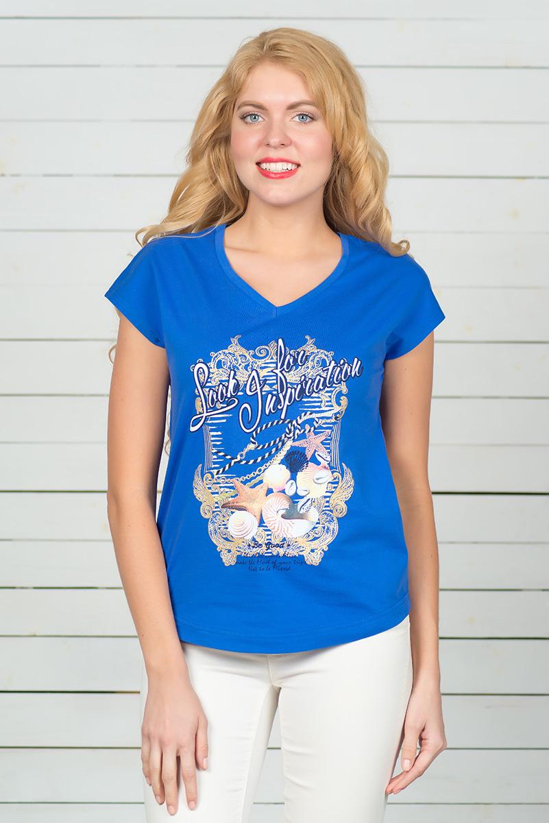 Футболка женская BeGood, цвет: синий. SS16-BGUZ-513. Размер 44SS16-BGUZ-513Стильная женская футболка BeGood, выполненная из эластичного хлопка, обладает высокой теплопроводностью, воздухопроницаемостью и гигроскопичностью, позволяет коже дышать. Модель с короткими цельнокроеными рукавами и V-образным вырезом горловины - идеальный вариант для создания стильного современного образа. Футболка оформлена ярким принтом. По низу модель имеет закругленную форму.
