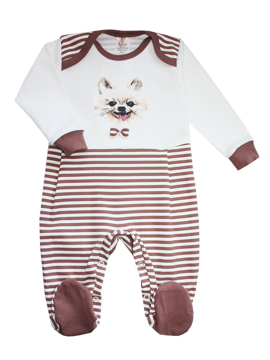 Комбинезон домашний6166Комбинезон детский КотМарКот, выполненный из натурального хлопка, идеально подойдет вашему ребенку, обеспечивая ему максимальный комфорт. Комбинезон с длинными рукавами, круглым вырезом горловины и закрытыми ножками имеет застежки-кнопки, которые помогают легко переодеть младенца или сменить подгузник. Модель оформлена полосатым принтом и изображением мордочки собачки с бантиком. В таком комбинезоне спинка и ножки младенца всегда будут в тепле, и кроха будет чувствовать себя комфортно и уютно.