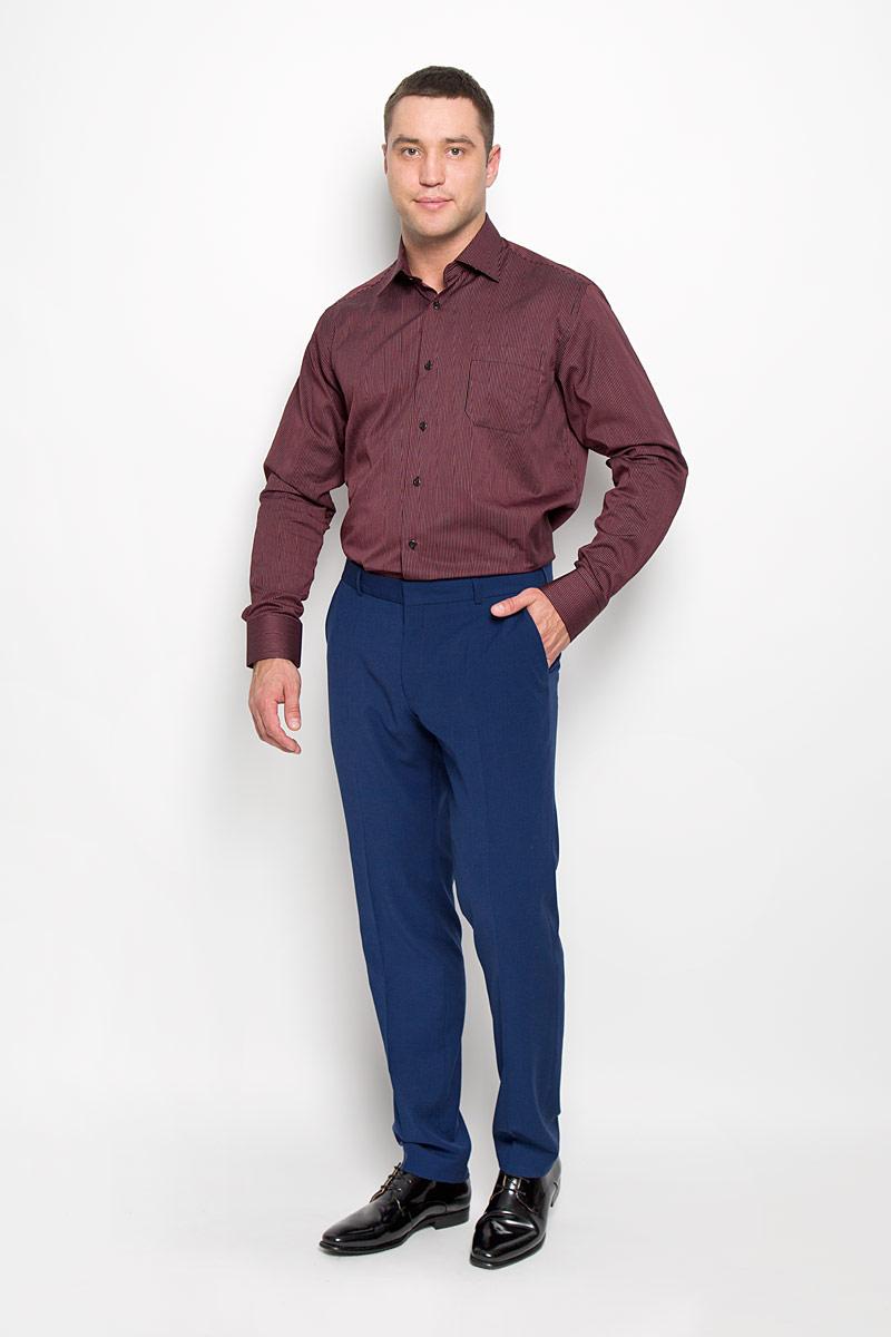 Рубашка мужская KarFlorens, цвет: черный, бордовый. SW 88-01. Размер 47/48 (58-182)SW 88-01Стильная мужская рубашка KarFlorens, выполненная из натурального хлопка, подчеркнет ваш уникальный стиль и поможет создать оригинальный образ. Хлопковый материал великолепно пропускает воздух, обеспечивая необходимую вентиляцию, а также обладает высокой гигроскопичностью.Рубашка с длинными рукавами и отложным воротником застегивается на пуговицы спереди. Рукава рубашки дополнены манжетами, которые также застегиваются на пуговицы. Модель оформлена узором в мелкую узкую полоску и дополнена нагрудным карманом. Классическая рубашка - превосходный вариант для базового мужского гардероба.Такая рубашка будет дарить вам комфорт в течение всего дня и послужит замечательным дополнением к вашему гардеробу.