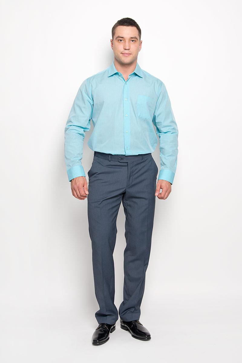 Рубашка мужская KarFlorens, цвет: мятный. SW 73-03. Размер 41/42 (50/52-176)SW 73-03Стильная мужская рубашка KarFlorens, выполненная из натурального хлопка, подчеркнет ваш уникальный стиль и поможет создать оригинальный образ. Такой материал великолепно пропускает воздух, обеспечивая необходимую вентиляцию, а также обладает высокой гигроскопичностью. Рубашка с длинными рукавами и отложным воротником застегивается на пуговицы спереди. Рукава рубашки дополнены манжетами, которые также застегиваются на пуговицы. Модель дополнена накладным нагрудным карманом. Классическая рубашка - превосходный вариант для базового мужского гардероба и отличное решение на каждый день.Такая рубашка будет дарить вам комфорт в течение всего дня и послужит замечательным дополнением к вашему гардеробу.