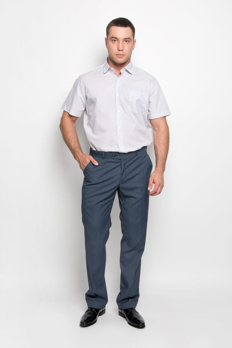 Рубашка мужская KarFlorens, цвет: бежевый, белый. SW 75-04. Размер 47/48 (58-182)SW 75-04Стильная мужская рубашка KarFlorens, выполненная из натурального хлопка, подчеркнет ваш уникальный стиль и поможет создать оригинальный образ. Такой материал великолепно пропускает воздух, обеспечивая необходимую вентиляцию, а также обладает высокой гигроскопичностью. Рубашка с короткими рукавами и отложным воротником застегивается на пуговицы спереди. Модель оформлена актуальным узором в узкую полоску и дополнена накладным нагрудным карманом. Классическая рубашка - превосходный вариант для базового мужского гардероба и отличное решение на каждый день. Такая рубашка будет дарить вам комфорт в течение всего дня и послужит замечательным дополнением к вашему гардеробу.