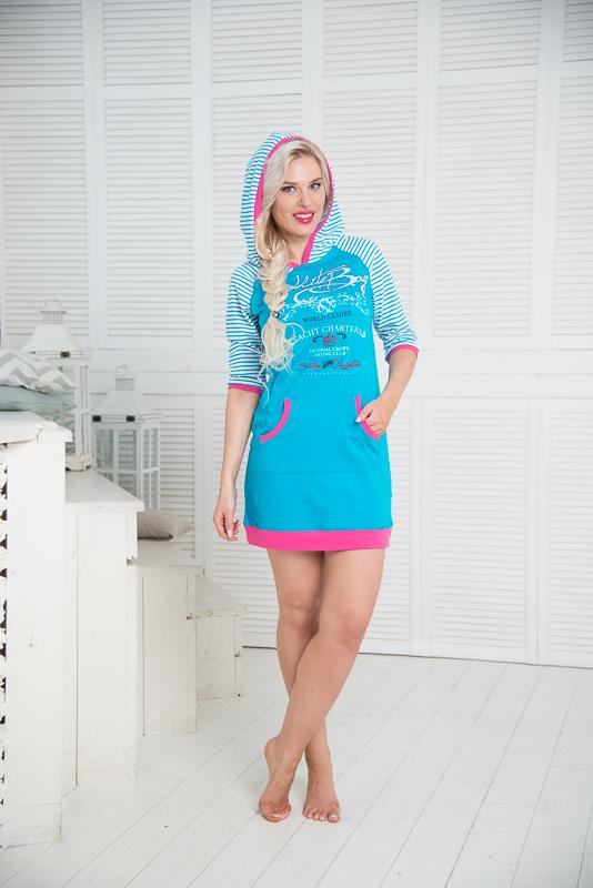 Платье домашнееSS16-PL-06Домашнее платье Santi выполнено из натурального хлопка. Платье-мини с капюшоном и рукавами-реглан 3/4 оформлено принтом в полоску, спереди - оригинальным принтом. Спереди расположен накладной карман-кенгуру. Рукава, края карманов, капюшон и низ изделия дополнены трикотажными резинками.