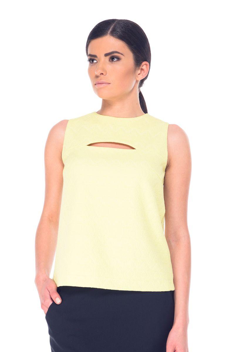 Блузка женская Arefeva, цвет: желтый. 07053. Размер S (44)07053Модная женская блузка Arefeva, изготовленная эластичного полиэстера, мягкая и приятная на ощупь, не сковывает движений и обеспечивает наибольший комфорт.Модель с круглым вырезом горловины и без рукавов застегивается на металлическую молнию, расположенные на спинке. Модель оформлена рельефным принтом, спереди - декоративным вырезом.