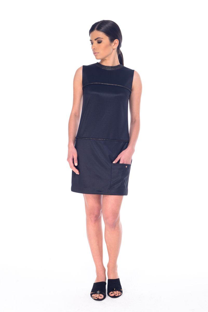 Платье Arefeva, цвет: черный. L 9052. Размер XL (50)L 9052Платье Arefeva выполнено из полиэстера с добавлением спандекса. Модель с круглым вырезом горловины без рукавов имеет потайную застежку-пуговицу.Платье-миди оформлено спереди контрастными полосками с добавлением люрекса и дополнено накладным карманом, украшенным металлической пуговицей.