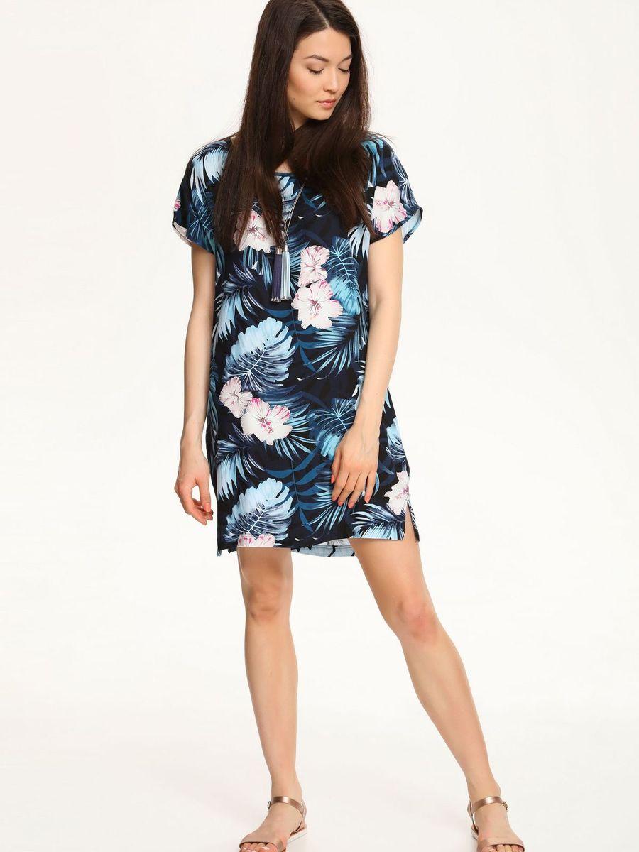 Платье Troll, цвет: черный, темно-бирюзовый. TSU0528CA. Размер XS (42)TSU0528CAСтильное платье Troll, выполненное из 100% вискозы, подчеркнет ваш изысканный вкус.Модель свободного кроя имеет короткие цельнокроеные рукава и сбоку по низу дополнено небольшими разрезами. Платье оформлено контрастным принтом.