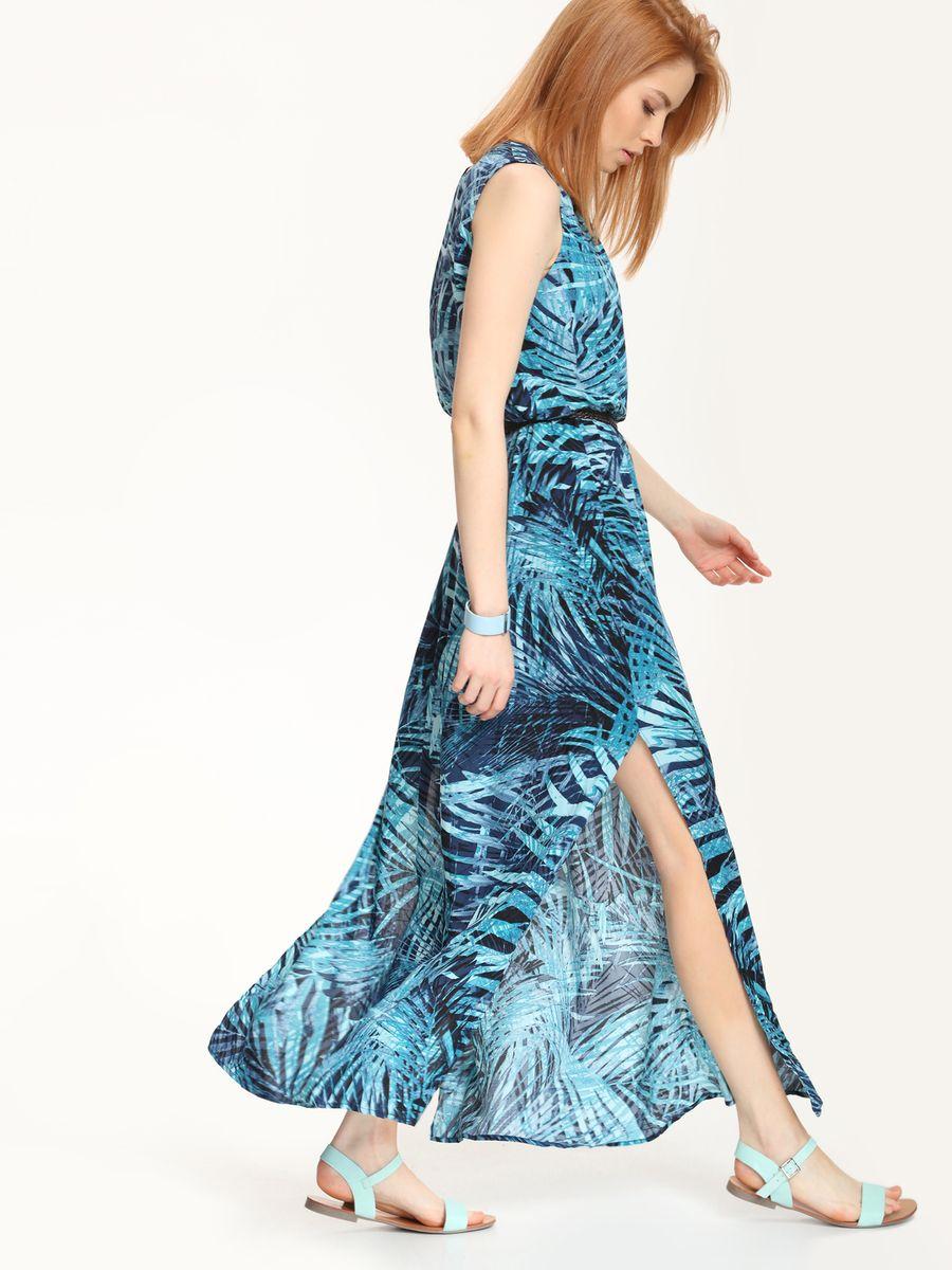 Платье Top Secret, цвет: темно-синий, бирюзовый. SSU1569GR. Размер 38 (44)SSU1569GRПлатье Top Secret выполнено из 100% вискозы и дополнено подкладкой из полиэстера. Платье-макси с круглым вырезом горловины застегивается на навесную пуговицу. По талии модель собрана на резинку, а в боковых швах расположены разрезы. Платье дополнено узким поясом.