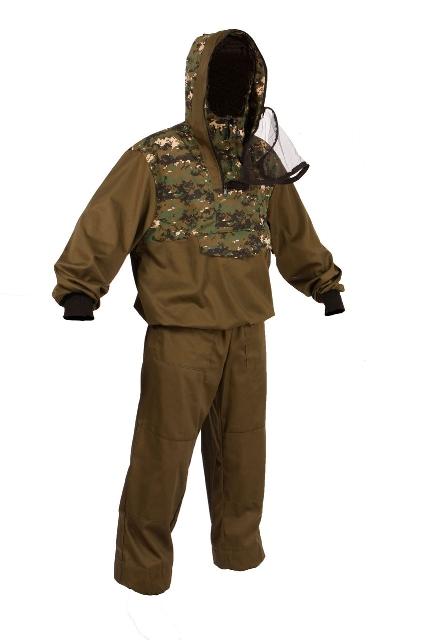 Костюм рыболовныйКостюм противоэнцефалитный Штурм-ЦифраКостюм состоит из куртки и брюк. Изготовлен из смесовых тканей с комбинацией однотонного цвета с лесными и камуфлированными расцветками. Куртка дополнена капюшоном с москитной сеткой.