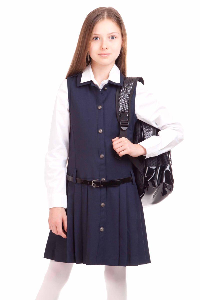 Сарафан для девочки Gulliver, цвет: темно-синий. 21502GSC2502. Размер 146, 10-11 лет21502GSC2502Купить школьный сарафан проще простого. Но купить стильный сарафан для школы, который украсит и порадует ребенка не очень легко. Замечательный сарафан из ткани с содержанием шерсти выглядит красиво и интересно. Прекрасный силуэт, юбка в складку, оригинальные металлические пуговицы с монограммой GSC (Gulliver School Collection) делают сарафан очень деликатным, изящным, выразительным. Сарафан выглядит очень элегантно с блузкой или прилегающей футболкой из вискозы или хлопка.