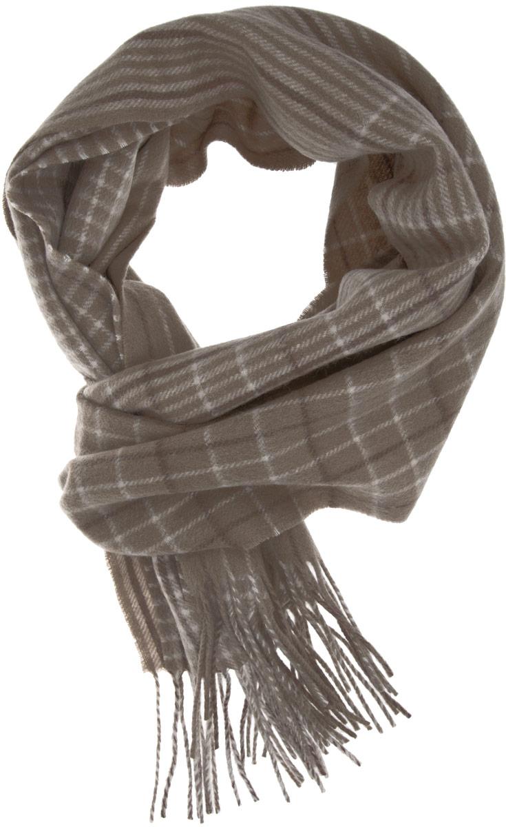 Шарф мужской Paccia, цвет: бежевый, коричневый. TH-21531-12. Размер 30 см x 165 смTH-21531-12Стильный шарф Paccia согреет вас в прохладную погоду и станет отличным завершением вашего образа. Шарф изготовлен из натуральной шерсти и оформлен тонкими полосками. Материал мягкий и приятный на ощупь, хорошо драпируется. Края шарфа декорированы кисточками, скрученными в жгутики.Этот модный аксессуар гармонично дополнит любой наряд и подчеркнет ваш изысканный вкус.
