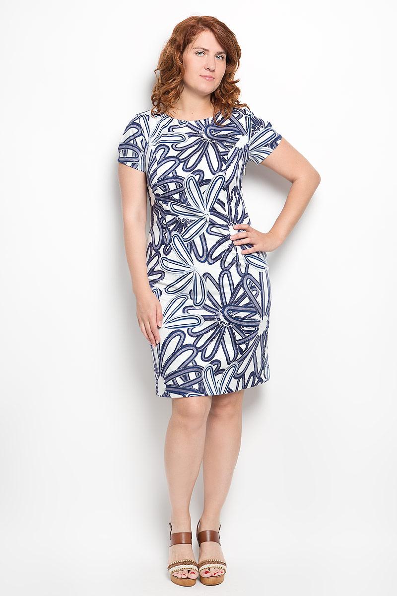 Платье Milana Style, цвет: белый, синий. 010416. Размер 52010416Платье Milana Style идеально подойдет для вас и станет стильным дополнением к вашему гардеробу. Выполненное из хлопка с дополнением эластана, оно очень приятное на ощупь, не сковывает движений и хорошо вентилируется.Модель с круглым вырезом горловины и короткими рукавами оформлено оригинальным цветочным принтом. В боковом шве обработана потайная застежка-молния, а в среднем шве спинки небольшой разрез. Такое платье поможет создать яркий и привлекательный образ, в нем вам будет удобно и комфортно.
