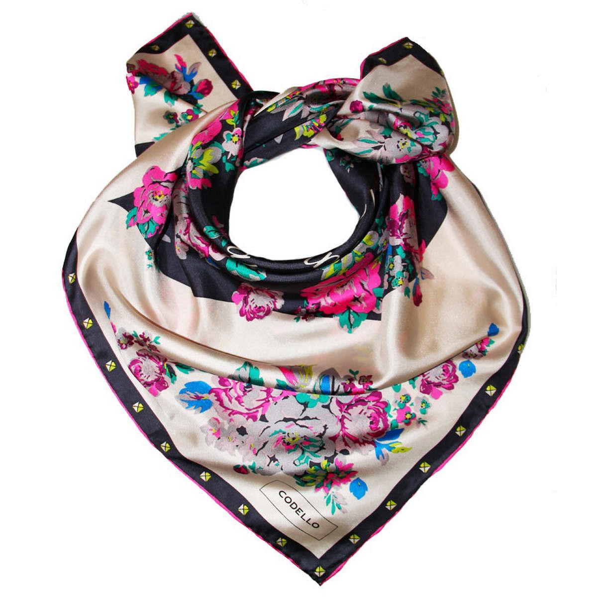 Платок1800971-11Стильный женский платок Codello изготовлен из натурального шелка и оформлен оригинальным цветочным принтом. Классическая квадратная форма позволяет носить платок на шее, украшать им прическу или декорировать сумочку. Такой платок превосходно дополнит любой наряд и подчеркнет ваш неповторимый вкус и элегантность.