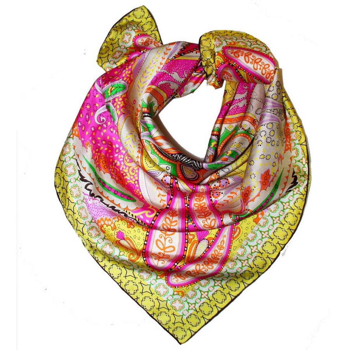 Платок1801171-2Стильный женский платок Venera изготовлен из натурального шелка и оформлен оригинальным, ярким узором. Классическая квадратная форма позволяет носить платок на шее, украшать им прическу или декорировать сумочку. Такой платок превосходно дополнит любой наряд и подчеркнет ваш неповторимый вкус и элегантность.