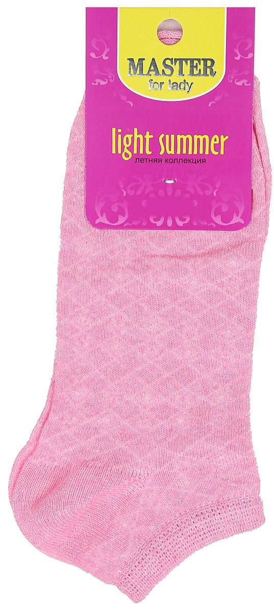Носки женские Master Socks, цвет: розовый. 55059. Размер 2555059Удобные носки Master Socks, изготовленные из высококачественного комбинированного материала, очень мягкие и приятные на ощупь, позволяют коже дышать.Эластичная резинка плотно облегает ногу, не сдавливая ее, обеспечивая комфорт и удобство. Модель с укороченным паголенком оформлена полупрозрачным орнаментом.Удобные и комфортные носки великолепно подойдут к любой вашей обуви.