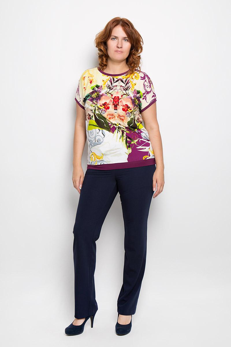 Блузка женская Milana Style, цвет: желтый, мультиколор. 924м. Размер 56924мСтильная женская блузка Milana Style, выполненная из вискозы с добавлением лайкры, подчеркнет ваш уникальный стиль и поможет создать женственный образ. Модель c круглым вырезом горловины и рукавами-кимоно. Низ рукавов и низ изделия дополнены тонкими манжетами. Блуза оформлена цветочным принтом. Такая блузка будет дарить вам комфорт в течение всего дня и послужит замечательным дополнением к вашему гардеробу.