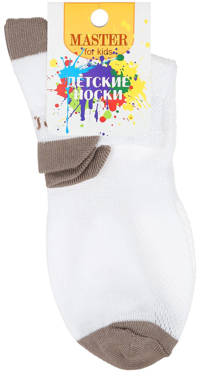 Носки детские Master Socks, цвет: белый, темно-бежевый. 52056. Размер 1852056Спортивные детские носки Master Socks изготовлены из натурального хлопка и полиамида. Ткань легкая, тактильно приятная, хорошо пропускает воздух. Короткая модель носков имеет эластичную резинку с фигурным краем, которая мягко облегает ножку ребенка, обеспечивая удобство и комфорт. Изделие оформлено надписями. Удобные и прочные носочки станут отличным дополнением к детскому гардеробу!Уважаемые клиенты!Размер, доступный для заказа, является длиной стопы.