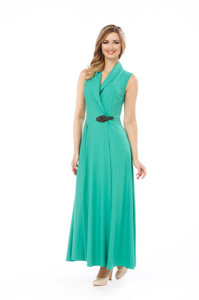 Платье Krisna Бастилия, цвет: зеленый. Размер 44БастилияПлатье Krisna Бастилия выполнено из вискозы с добавлением эластана. Платье-макси с воротником-шалью имеет запах и застегивается хлястиком.