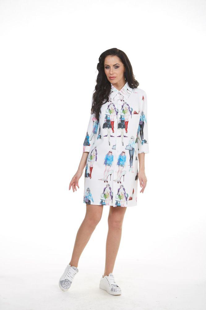 ПлатьеБенедиктПлатье Krisna Бенедикт выполнено из полиамида с добавлением вискозы и эластана. Модель с отложным воротником и рукавами длинной 3/4 застегивается на кнопки по всей длине. Платье-миди оформлено оригинальными рисунками.