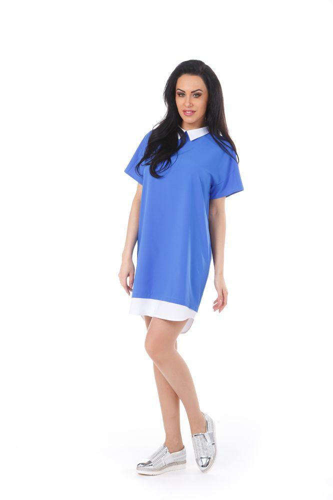 Платье Krisna Люмина, цвет: синий, белый. Размер 44ЛюминаСтильное платье Krisna Люмина выполнено из высококачественного комбинированного материала. Модель с отложным воротником и рукавами-реглан застегивается на потайную застежку-молнию расположенную в среднем шве спинки. Оформлено изделие эффектом 2 в 1.
