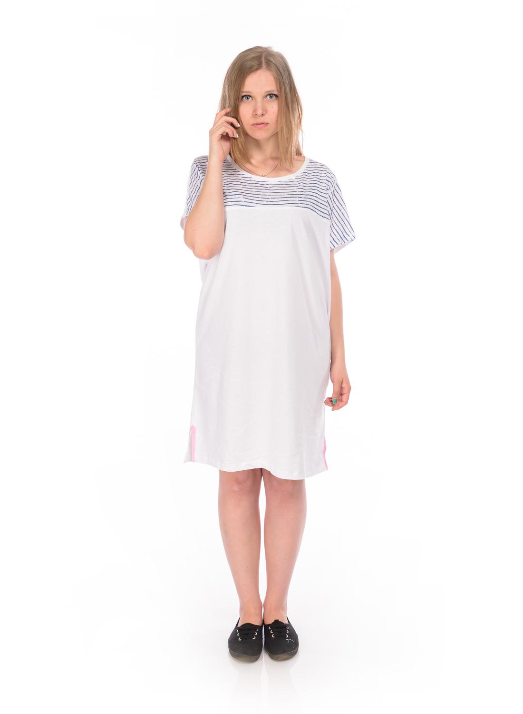 Платье домашнееRAV04-001Женская туника RAV выполнена из натурального хлопка. Модель-миди свободного кроя с круглым вырезом горловины и короткими цельнокроеными рукавами оформлена принтом в полоску. Нижняя часть модели по боковым швам оформлена разрезами.