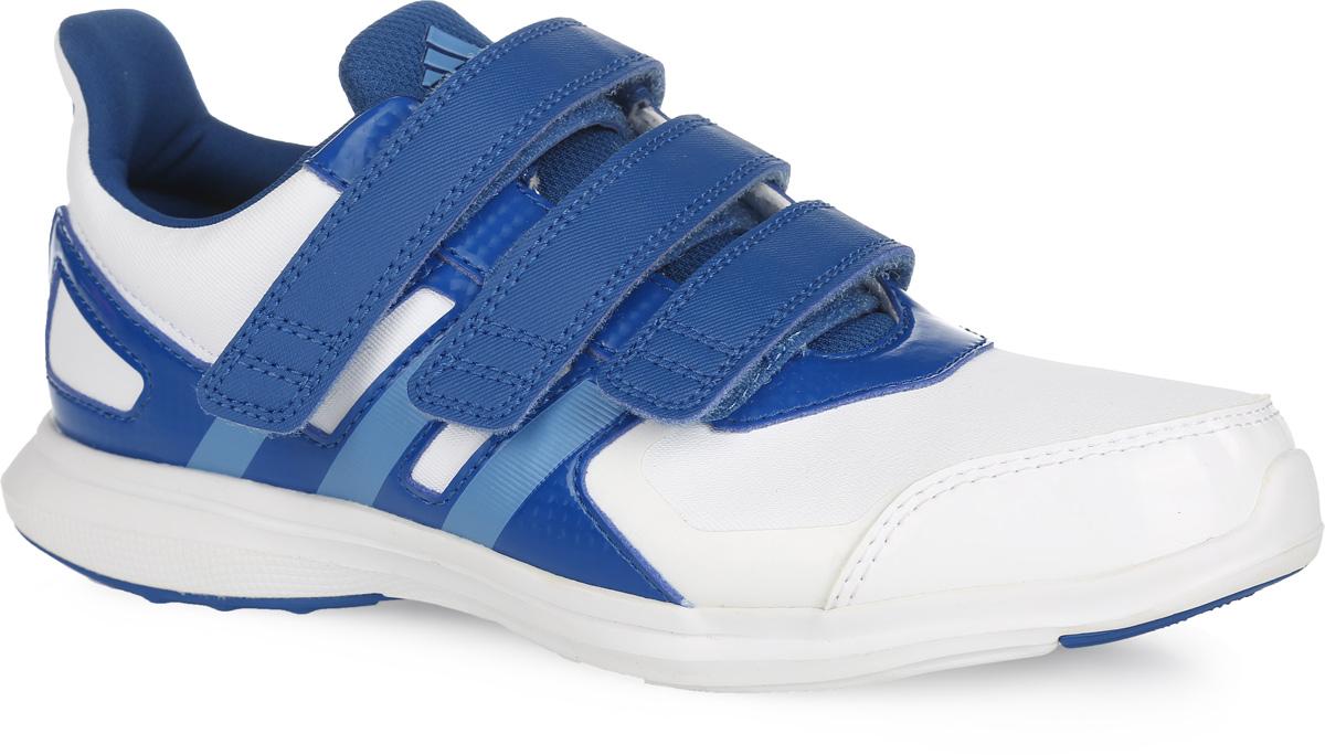 Кроссовки детские adidas Performance Hyperfast 2.0 cf k, цвет: белый, синий. AF4500. Размер 31AF4500Легкие кроссовки для бега от adidas Performance Hyperfast 2.0 cf k придутся по душе вашему ребенку. Модель с укрепленным мыском для лучшей износостойкости выполнена из плотного текстильного материала и дополнена вставками из искусственной кожи разной фактуры для дополнительной поддержки. Обувь оформлена голографическим эффектом, с одной из боковых сторон - перфорацией, с другой - фирменными полосками, на язычке - логотипом бренда. Ремешки на удобных застежках-липучках надежно зафиксируют обувь на ноге. Текстильная подкладка и мягкий манжет предотвратят натирание и гарантируют уют. Стелька OrthoLite, изготовленная из ЭВА материала с текстильным верхним покрытием, обеспечивает хорошую вентиляцию и защищает от образования бактерий, грибка и неприятного запаха. Легкая промежуточная подошва из ЭВА предназначена для лучшей амортизации. Специальный материал ультрагибкой подошвы non-marking не оставляет следов на поверхностях. А благодаря его прочности, обувь прослужит вам долгий срок. Рельефное основание подошвы гарантирует уверенное сцепление с любой поверхностью. Такие кроссовки придутся по душе вашему ребенку.