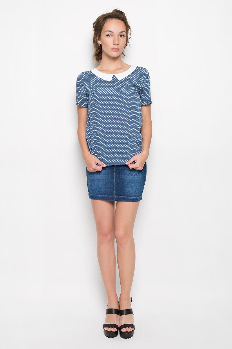 Блузка женская F5, цвет: темно-синий, белый. 17331. Размер XS (42)17331_Rayon, blue dotsСтильная женская блузка F5, выполненная из 100% вискозы, подчеркнет ваш уникальный стиль и поможет создать женственный образ. Модель c круглым вырезом горловины и короткими рукавами. Вырез горловины дополнен имитацией отложного воротника. Блуза оформлена принтом в горох.Такая блузка будет дарить вам комфорт в течение всего дня и послужит замечательным дополнением к вашему гардеробу.