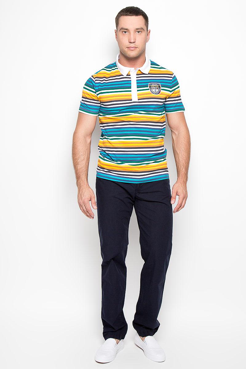 ПолоS16-24027_201Мужская футболка-поло Finn Flare, изготовленная из натурального хлопка, обладает высокой теплопроводностью, воздухопроницаемостью и гигроскопичностью, позволяет коже дышать. Модель с короткими рукавами и отложным воротником - идеальный вариант для создания оригинального современного образа. Сверху футболка застегивается на 3 пуговицы. Модель оформлена принтом в разноцветную полоску и на груди дополнена нашивкой с логотипом бренда. Такая модель подарит вам комфорт в течение всего дня и послужит замечательным дополнением к вашему гардеробу.