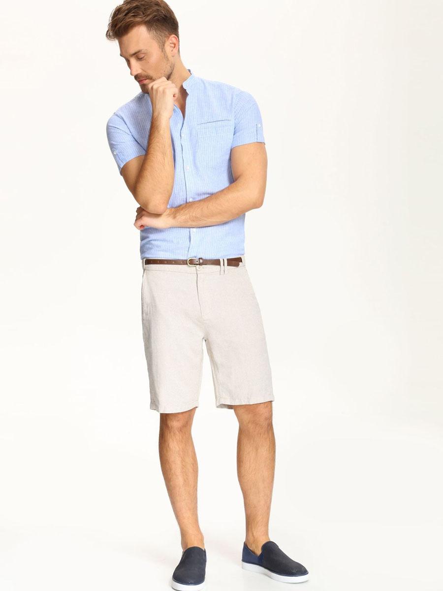 Рубашка мужская Top Secret, цвет: бело-голубой. SKS0891NI. Размер 40/41 (48)SKS0891NIСтильная мужская рубашка Top Secret, выполненная из сочетания лена и хлопка, обладает высокой теплопроводностью и позволяет коже дышать.Модель классического кроя с воротником стойкой застегивается на пуговицы. Короткиерукава рубашки дополнены манжетами с хлястиком на пуговице. Оформлена модель принтом в полоску и дополнена спереди накладным кармашком.