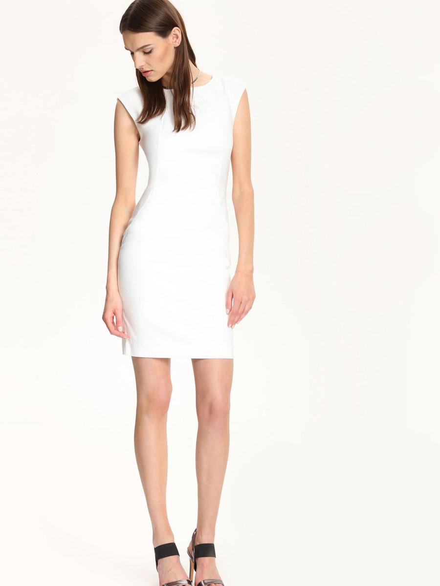 ПлатьеSSU1551BIСтильное платье Top Secret выполнено из хлопка и полиэстера с добавлением эластана. Платье-футляр средней длины с круглым вырезом горловины и без рукавов застегивается на скрытую застежку-молнию, расположенную на спинке.
