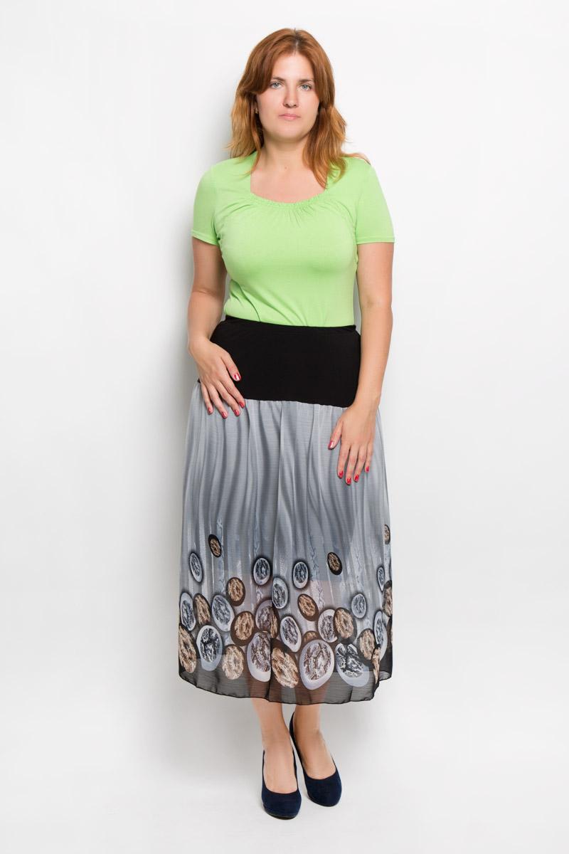 Юбка Milana Style, цвет: серый, черный, коричневый. 913м. Размер XXXL (54)913мЭффектная юбка Milana Style выполнена из эластичного полиэстера с добавлением вискозы, она обеспечит вам комфорт и удобство при носке.Юбка-макси с подъюбником дополнена широкой эластичной резинкой на талии. Модель украшена оригинальным принтом. Модная юбка-макси выгодно освежит и разнообразит ваш гардероб. Создайте женственный образ и подчеркните свою яркую индивидуальность! Классический фасон и оригинальное оформление этой юбки сделают ваш образ непревзойденным.
