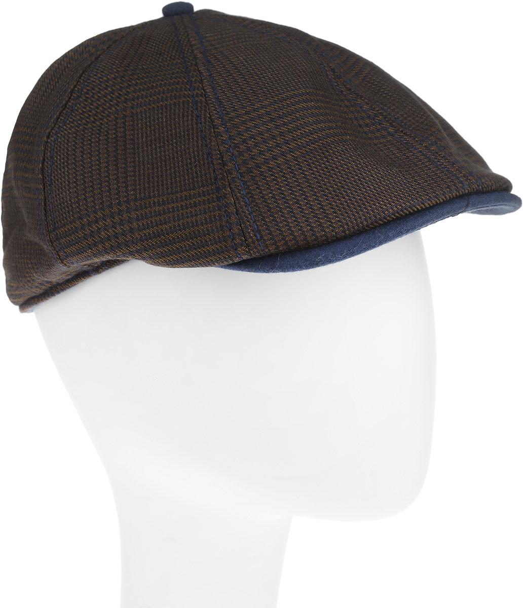Кепка Goorin Brothers, цвет: коричневый, темно-синий. 103-5575. Размер M (57)103-5575Практичная и стильная кепка восьмиклинка Goorin Brothers будет отлично смотреться с осенним пальто и толстым шарфом.Модель выполнена из плотного тёплого полиэстера и хлопка. Внутри по окружности пришита лента гро-гро и шелковистая стеганая подкладка. Сочетание основного цвета с контрастной клеткой и тем же цветом козырьком, дарят этой модели замечательное настроение. Кепка украшена классической пуговкой на макушке.Такая кепка станет отличным аксессуаром и дополнит ваш повседневный образ.