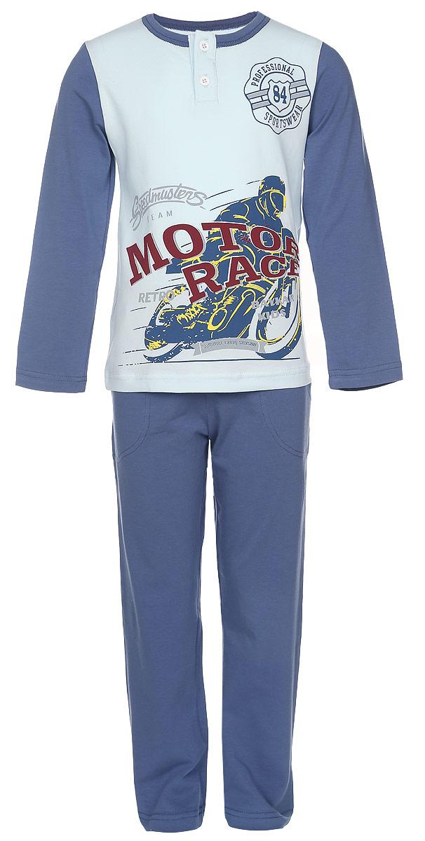 Пижама для мальчика Baykar, цвет: светло-голубой, синий. N9072232-22. Размер 98/104N9072232-22Пижама для мальчика Baykar, выполненная из эластичного хлопка, идеально подойдет ребенку для отдыха и сна. Материал изделия мягкий, тактильно приятный, не сковывает движения, хорошо пропускает воздух. Пижама состоит из футболки с длинным рукавом и брюк. Футболка с длинными рукавами и круглым вырезом горловины застегивается спереди на две пуговицы. Вырез горловины оформлен эластичной бейкой. Украшена модель оригинальным принтом и надписями.Брюки прямого кроя имеют на талии мягкую резинку, благодаря чему они не сдавливают живот ребенка и не сползают. Спереди модель дополнена двумя втачными карманами.Высокое качество исполнения и дизайн принесут удовольствие от покупки и подарят отличное настроение!