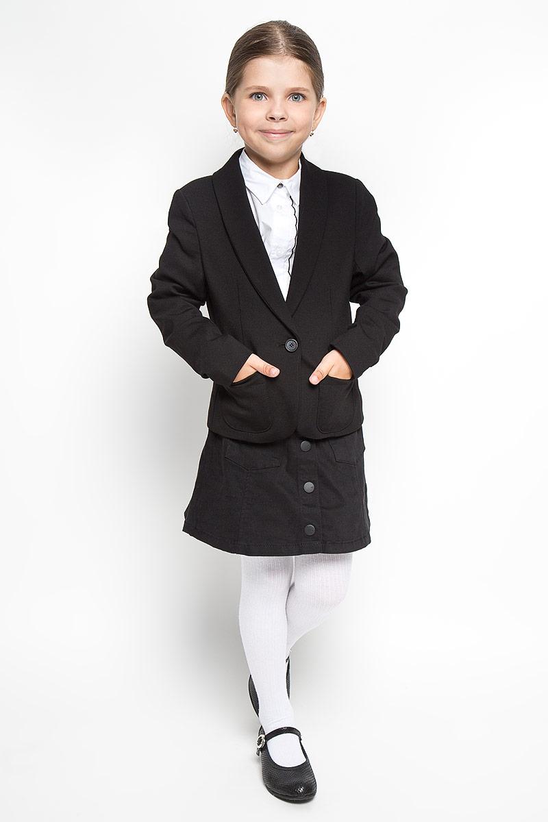 Жакет для девочки Orby School, цвет: черный. 64139_OLG вариант 3. Размер 122/128, 7-8 лет64139_OLG вариант 3Классический жакет для девочки Orby School - основа делового стиля, а значит и в школьном гардеробе ребенка - это базовый атрибут, необходимый для будней и праздников. Изготовленный из полиэстера и вискозы с добавлением эластана, он мягкий и приятный на ощупь, не стесняет движения и хорошо пропускает воздух. В качестве подкладки используется тонкая гладкая ткань.Жакет с воротником-шалью и длинными рукавами застегивается на одну пуговицу. Спереди он дополнен двумя накладными кармашками.Жакет займет достойное место в гардеробе школьницы!