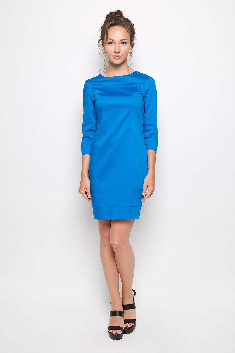 Платье Milana Style, цвет: ярко-синий. 10416. Размер L (48)10416Яркое платье-миди Milana Style поможет создать оригинальный женственный образ. Выполненное из хлопка с добавлением полиамида, оно очень приятное на ощупь, не сковывает движений и хорошо вентилируется.Модель с круглым вырезом горловины и рукавами 3/4 сзади застегивается на потайную застежку-молнию.Такое платье станет модным и стильным дополнением к вашему гардеробу!