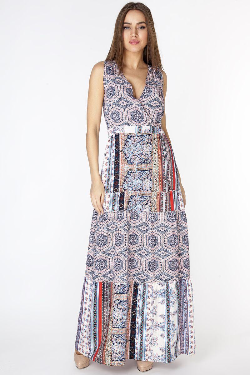Платье Vis-A-Vis, цвет: синий. D3276. Размер XL (50)D3276Эффектный длинный сарафан с плечевыми отрезными кокетками и с V-образным вырезом горловины. По линии талии внутри пояса резинка. Застежка сзади в виде капли на петлю и пуговицу. Модель комбинирована из двух вискозных полотен с разным орнаментом в стиле печворк.