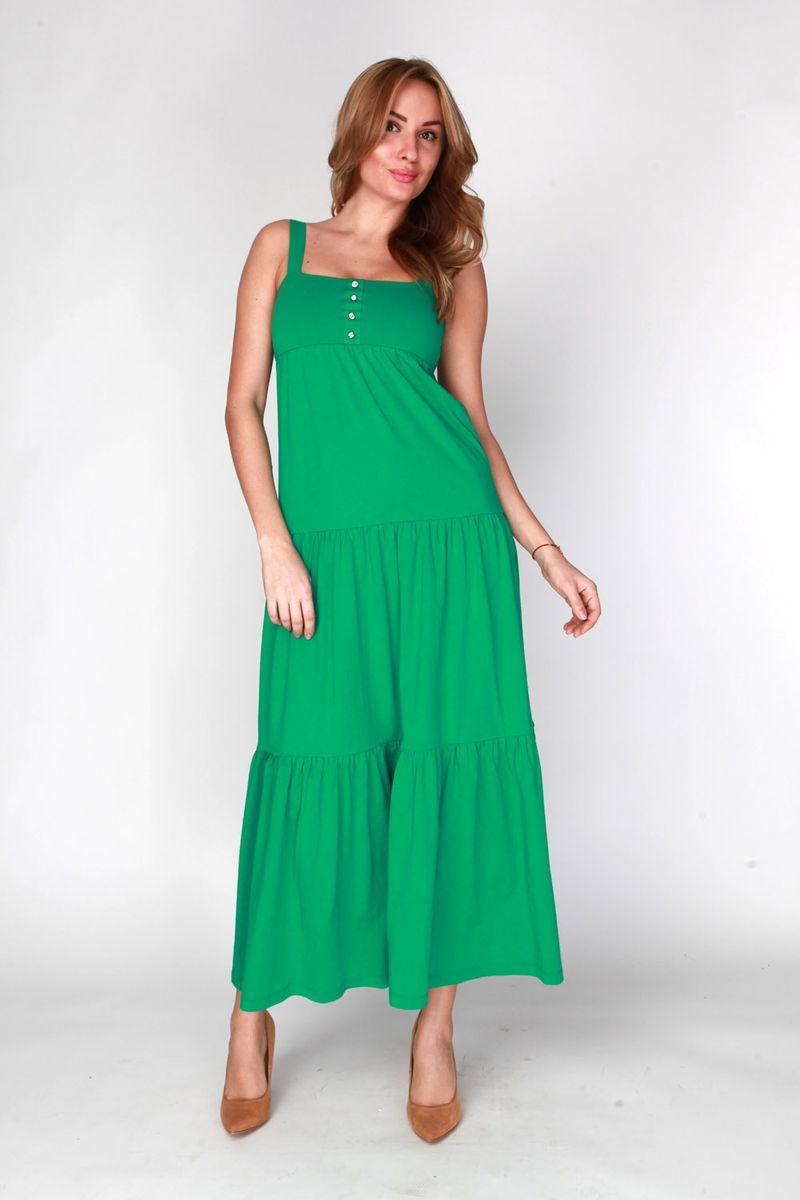 ПлатьеDR6080Длинное платье-сарафан выполнено из хлопка и полиэстера. Лиф платья двойной с ложной застежкой.