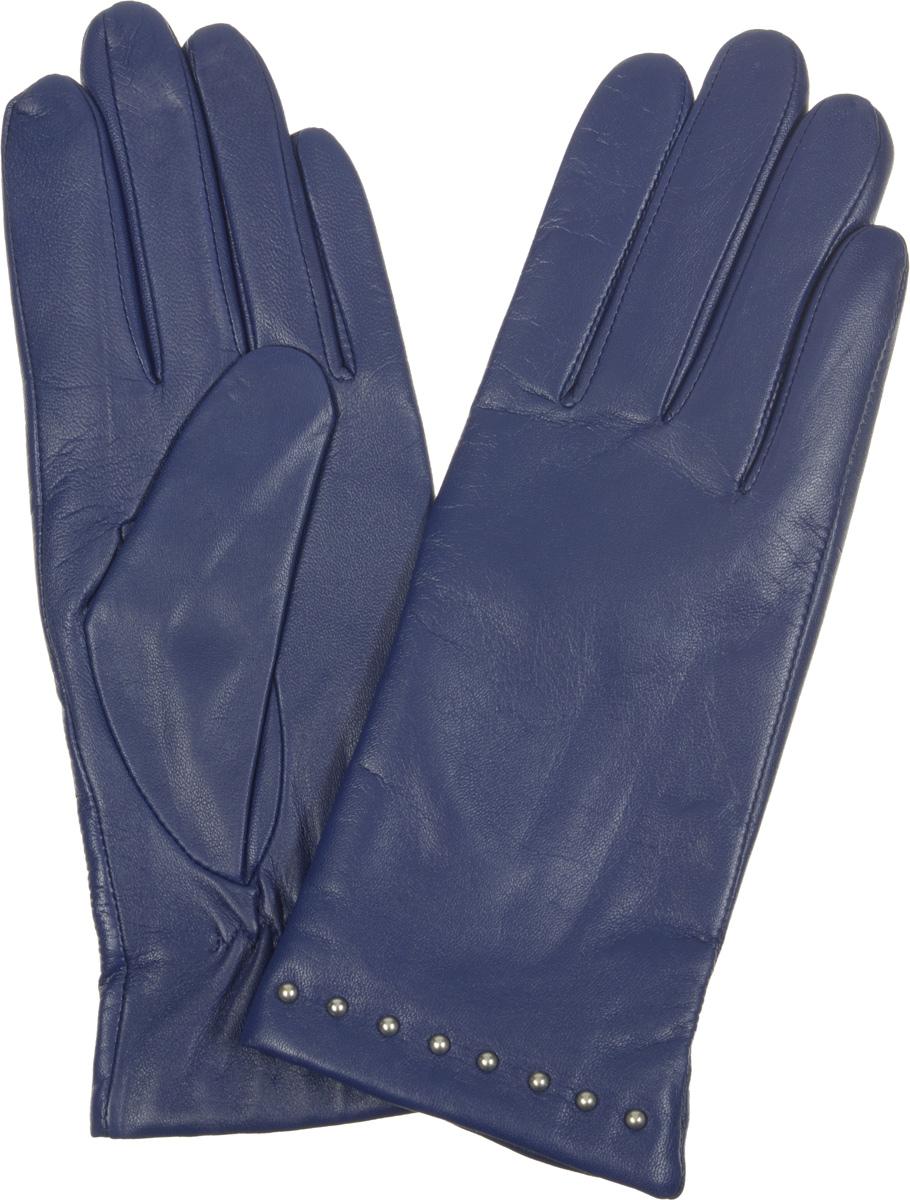 Перчатки женские Fabretti, цвет: темно-синий. 12.19-11. Размер 712.19-11Элегантные женские перчатки Fabretti станут великолепным дополнением вашего образа и защитят ваши руки от холода и ветра во время прогулок.Перчатки выполнены из эфиопской перчаточной кожи ягненка на подкладке из шерсти с добавлением кашемира, что позволяет им надежно сохранять тепло. Манжеты с тыльной стороны присборены на эластичные резинки. Модель декорирована металлическими бусинами. Такие перчатки будут оригинальным завершающим штрихом в создании современного модного образа, они подчеркнут ваш изысканный вкус и станут незаменимым и практичным аксессуаром.