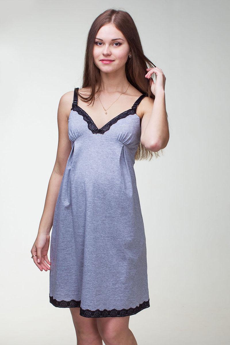 Ночная рубашка1-НМП 17301Оригинальная сорочка для беременных и кормящих из 100% хлопка и кружева контрастного цвета. Регулируемые бретели с клипсой для удобства кормления. Отличный вариант для сна и отдыха.