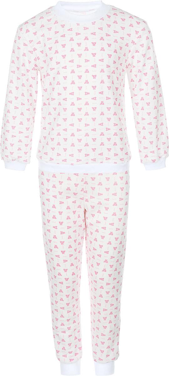 Пижама детская Фреш Стайл, цвет: белый с рисунком. 33-5872. Размер 9233-5872Пижама Фреш Стайл, состоящая из футболки с длинными рукавами и брюк, идеально подойдет ребенку для отдыха и сна. Модель выполнена из натурального хлопка, очень приятная к телу, не сковывает движения, хорошо пропускает воздух. Пижама оформлена яркими рисунками. Футболка с длинными рукавами и круглым вырезом горловины. Воротник, низ рукавов и низ изделия дополнены трикотажными резинками. Брюки прямого кроя имеют на талии мягкую резинку, благодаря чему они не сдавливают животик ребенка и не сползают. Низ брючин дополнен эластичными манжетами. В такой пижаме ребенок будет чувствовать себя комфортно и уютно!