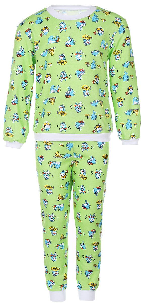 Пижама детская Фреш Стайл, цвет: зеленый с рисунком. 33-5872. Размер 9833-5872Пижама Фреш Стайл, состоящая из футболки с длинными рукавами и брюк, идеально подойдет ребенку для отдыха и сна. Модель выполнена из натурального хлопка, очень приятная к телу, не сковывает движения, хорошо пропускает воздух. Пижама оформлена яркими рисунками. Футболка с длинными рукавами и круглым вырезом горловины. Воротник, низ рукавов и низ изделия дополнены трикотажными резинками. Брюки прямого кроя имеют на талии мягкую резинку, благодаря чему они не сдавливают животик ребенка и не сползают. Низ брючин дополнен эластичными манжетами. В такой пижаме ребенок будет чувствовать себя комфортно и уютно!