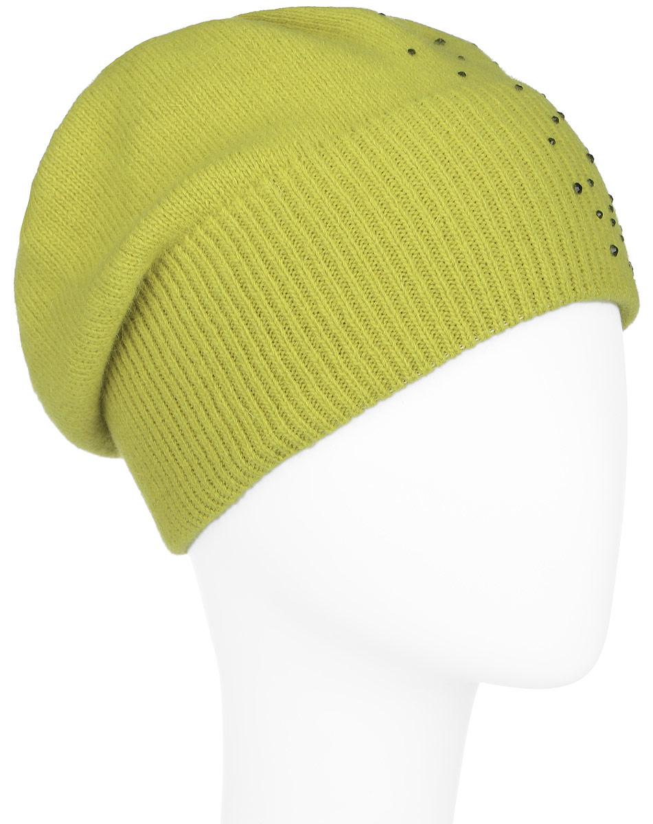 Шапка женская Finn Flare, цвет: желто-зеленый. A16-32120_417. Размер 56A16-32120_417Стильная женская шапка Finn Flare дополнит ваш наряд и не позволит вам замерзнуть в холодное время года. Шапка выполнена из высококачественной пряжи, что позволяет ей великолепно сохранять тепло и обеспечивает высокую эластичность и удобство посадки. Модель оформлена россыпью страз и металлической эмблемой с логотипом производителя. Понизу предусмотрена вязаная резинка.Такая шапка станет модным и стильным дополнением вашего гардероба. Она согреет вас и позволит подчеркнуть свою индивидуальность!